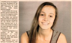 Private Investigator Lauren Parker Apprentice of the year surrey advertiser