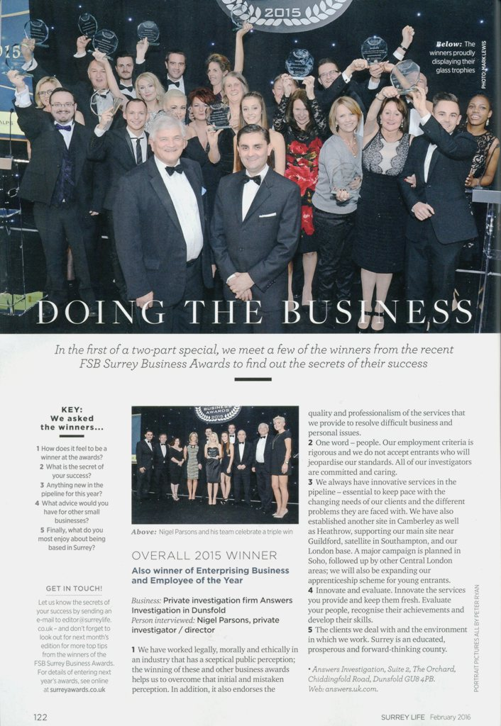 surrey life magazine fsb business awards  private Detective Haslemere & surrey